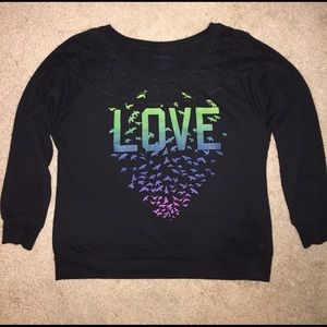 "Stranded Tops - Soft & Comfy ""Love"" Sweatshirt with Lace"