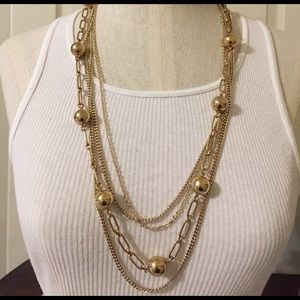 Jewelry - Vintage 4 strand gold tone link necklace