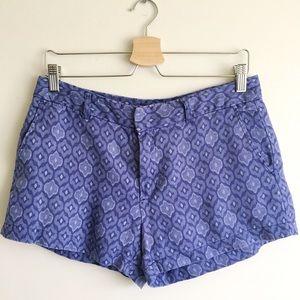 Cynthia Rowley Blue Ikat 100% Linen Shorts Size 6