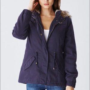 Dark blue faux fur hood drawstring jacket