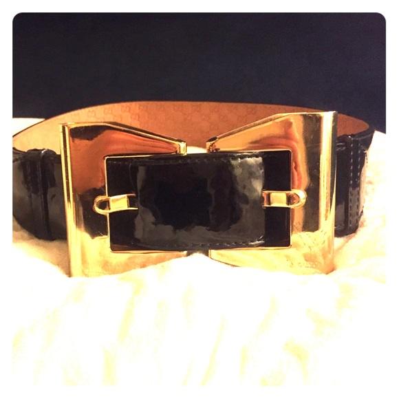 4dba68f75b4 Gucci Accessories - Gucci patent leather gold bow belt