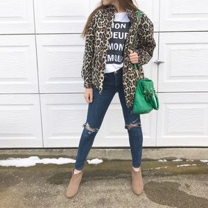 Urban Outfitters silk leopard print bomber jacket