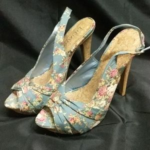 Liliana Shoes - Blue Floral Slingback Heels