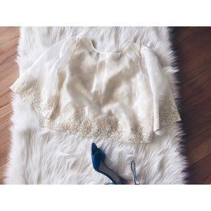 vintage Tops - Vtg70s Lace Sheer Sleeve Hippie Boho Blouse SML