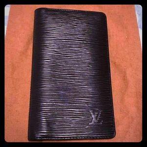 Authentic Louis Vuitton Black Epi Bilfold Wallet