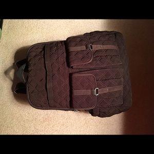 Vera Bradley Brown Quilted Backpack