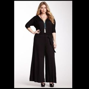 Loveappella Pants - Black 3/4 Sleeve Plus Size Jumpsuit