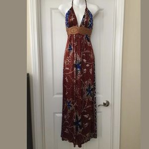 Nwt sky brand brown/blue maxi dress Sz s Halter