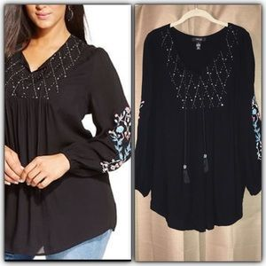 Style & Co Long Sleeve Beads Embroidery Tunic Top