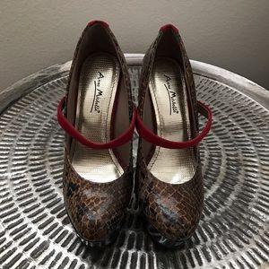Anne Michelle Shoes - ANNE MICHELLE brown/red stiletto platform heels