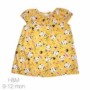H&M Yellow Panda Soup Dress 9-12 mon