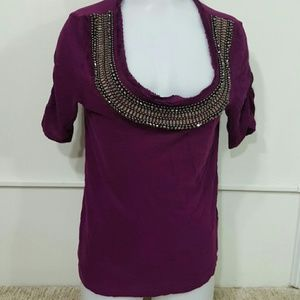 Anthropologie Tops - Anthropologie Deletta Purple Beaded Neck Shirt
