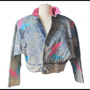 Vintage jacket with leather and rhinestones