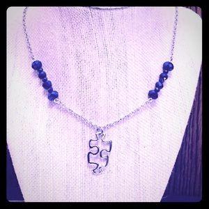 Jewelry - Puzzle Piece Blue Jewel Necklace