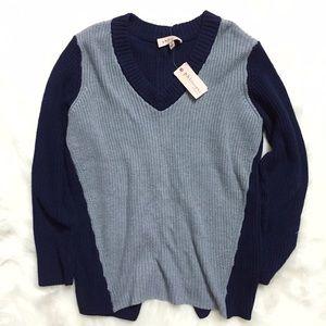 Philosophy Sweaters - Philosophy Chunky Navy Blue Open Back Sweater