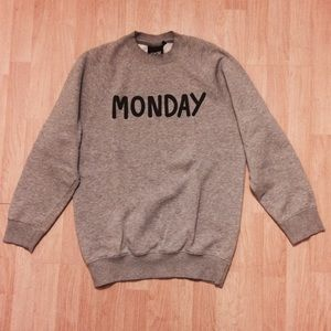 Lazy Oaf Sweaters - LAZY OAF MONDAY CREW SWEATER SWEATSHIRT MEDIUM