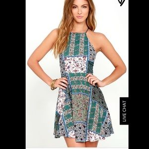 Lulus Sunflower Days Green Print Skater Dress