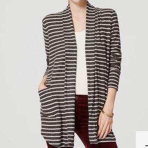 Loft striped shirttail open cardigan L