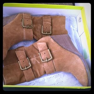 Suede Mid Calf Wedge Boots