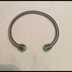 Jewelry - Silver Cuff Bracelet with Turquoise Details