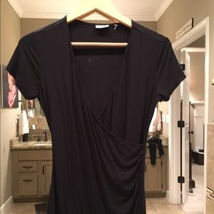 DKNY Small Black Criss Cross Long Shirt