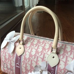 Christian Dior Bags   Christine Dior Pink Denim Bowling Bag   Poshmark f196680e53