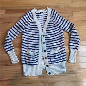 J. Crew Sweaters - J.Crew Striped Chunky Knit Sweater Cardigan XS
