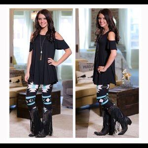 Infinity Raine Pants - Black & Turquoise Aztec Leggings