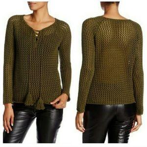 acrobat Sweaters - Acrobat Green knit tassel sweater