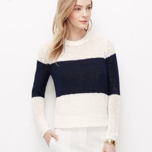 Ann Taylor White and Blue Colorblock Sweater