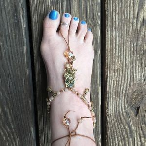Anklet and Toe Ring Gold Tone Owl
