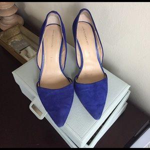 Banana Republic Shoes - Banana republic d'orsay suede blue heels