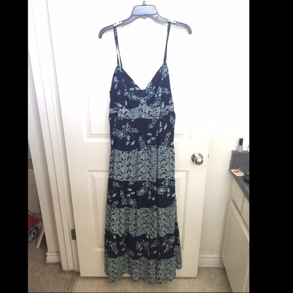 Baby Blue & Navy Blue Floral Plus Size Maxi Dress