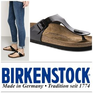 "Birkenstock Shoes - Black patent leather ""Gizeh"" Birkenstocks"