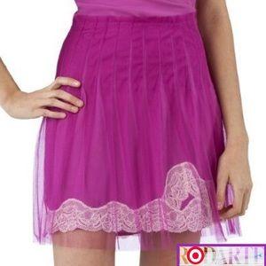 RODARTE 4  Chic Fuchsia Pink Mesh Pleated Skirt