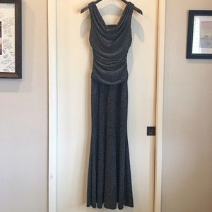 Nightway Dresses & Skirts - Full Length Black and Silver Metallic Gown