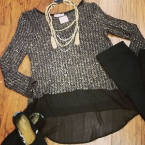 Lush Sweaters - Black and gold high low sweater