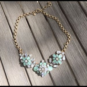 J Crew Mint and Rhinestone statement necklace