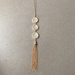 Stone tassel gold necklace - new with tags!