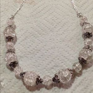 PeaceFrog Jewelry - Sparkly White Glass Bead Silver Necklace