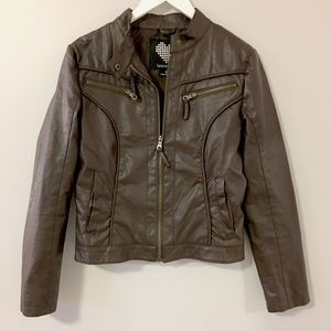 Brave Soul Jackets & Blazers - Brown Faux Leather Bomber Jacket