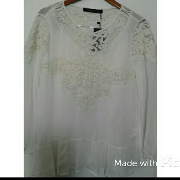 6ef6e9a0 Zara Tops | Sheer Embroidered Lace Tunic | Poshmark