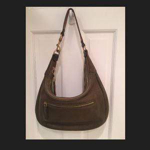 Coach leather JackieO hobo loden green gold buckle