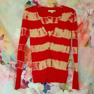 Forever 21 Red Tie Dye Striped Cardigan