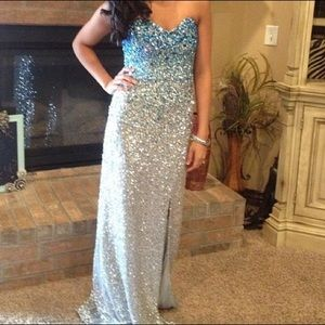 Sherri Hill Dresses & Skirts - Blue and silver beaded Sherri Hill long Prom dress