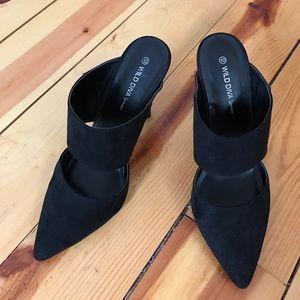 Shoes - Black Faux Suede Cutout Mules