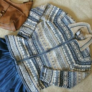 SALE +Fair Isle Zip Up Cardigan