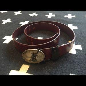 "Diesel Black Gold Accessories - Diesel ""Black Gold"" reddish brown leather belt"