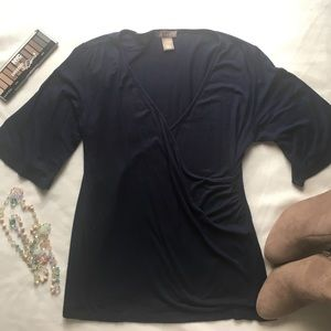 Kenar Tops - Kenar Navy Cross Front Shirt