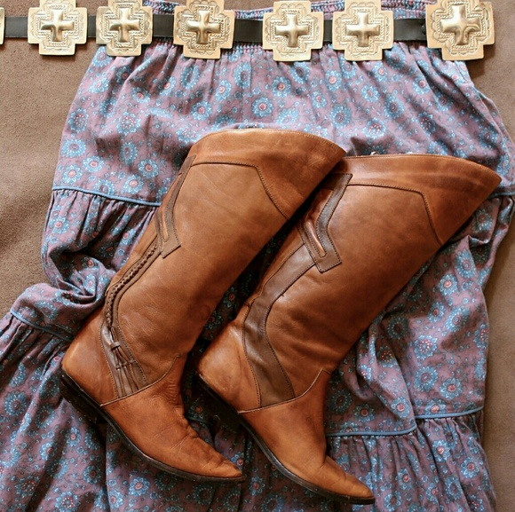 Predictions Shoes - Braided Cowgirl Boots, Golden Brown Leather
